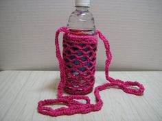 Water Bottle Carrier - Crochet in Pink/Fuscia