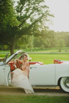 Bride in a vintage car