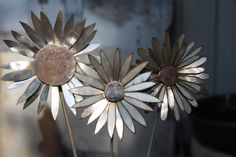 3 Metal Art Garden Flowers. $45.00, via Etsy.