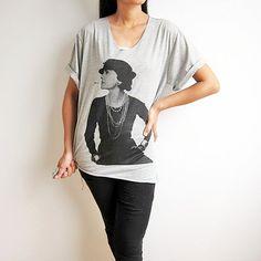 Coco Chanel T Shirt French Fashion Designer Gray by PunkRockTshirt