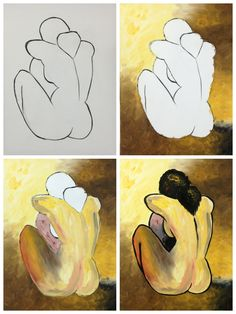 """Evolution of """"Picasso's Nude"""" painted @ Painting with a Twist Ft. Lauderdale"""