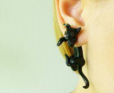 black cat clinging earring halloween front by JEWELRYandPLEASURE, $20.00