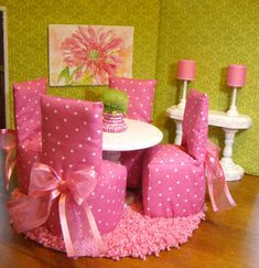 dining rooms, chair covers, dining room sets, american dolls, house furniture, american girl stuff, barbi hous, doll houses, dream rooms