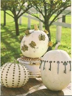 Many different ideas for decorating pumpkins.  Very creative!