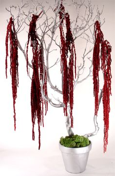 centerpieces: gold or black painted Manzanita branches with hanging red amaranthus