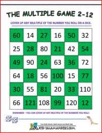 The Multiples Game 2 to 12 - a free 3rd grade math game to help your child learn their multiplication facts up to the 12 times table