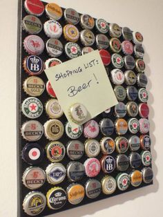 Beer Cap Magnet Board Gift idea for boyfriend, brother or Dad's that love beer.