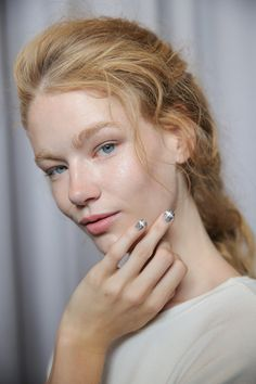 Models at Baja East wore nails painted a marbled grey with a bold white line.