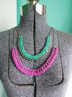 DIY: crochet & chain necklace