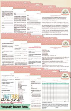 12 Photography Business Forms Kit Contract by hazyskiesdesigns. $40.00 USD, via Etsy.