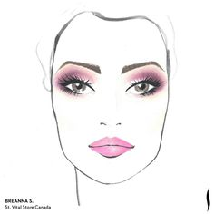 Winning SEPHORA + PANTONE UNIVERSE Face Chart Artistry Competition. Face chart designed by Breanna S. of St. Vital Store Canada #Sephora #makeup #inspiration