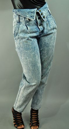 Fold over jeans - acid wash.  So ugly.  Did we really wear these?