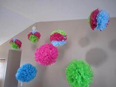 luau parti, balls, craft, pom poms, birthday parties, birthdays, color pom, paper flowers, parti idea