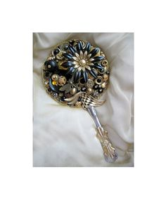 Hand Mirror Recycled Vintage Jewelry And by LovesParisStudio, $50.00