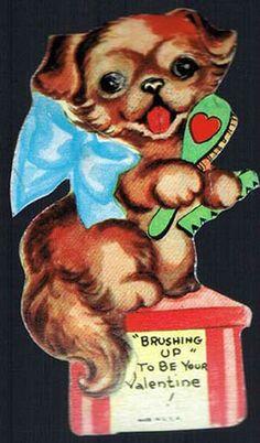 Vintage Valentine Card Little Puppy Brushin Up 1930s
