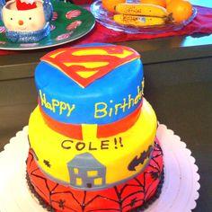5th birthday cake, batman, spiderman, and superman!!