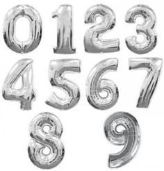 "40"" Number Balloons - Silver Foil shoptomkat.com"