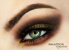 """Makeup Glam"" By inka2504. Makeup Geek products used: Burlesque, Corrupt, Mango Tango, and Vanilla Bean eyeshadows. Immortal gel liner. Blitz and Liquid Gold pigments."