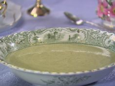 Creamy Asparagus Soup in mini teacups! Put this soup into a blender if you don't have the little immersion blender!