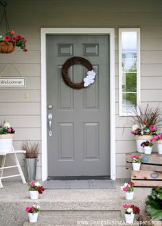 Front Porch Makeover from designdininganddiapers.com #diy #porch #spring #paint
