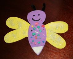 Firefly craft for storytime on 5/23. We will read Miss Spider's ABC by David Kirk, Whoops! by Jane Edgecombe, and A Frog in the Bog by Karma Wilson and Joan Rankin.  #insects