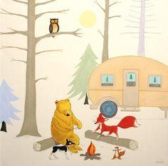 "Camp Hawk- PRINT 8x8"" kids art, baby and kids room decor, nursery art, fox, camping, woods, trees"