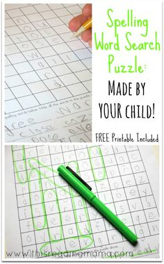 Spelling Word Search Puzzle- Made by YOUR Child~   This Reading Mama