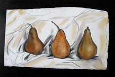 3 Bosc Pears Pastel Fruit Still Life Drawing by EmmanuelleHaven, $25.00