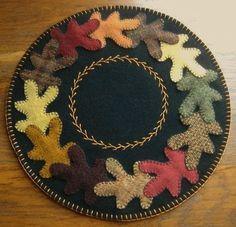 Primitive Wool Penny Rug Fall Oak Leaves Jar by MaggysPennies, $30.00