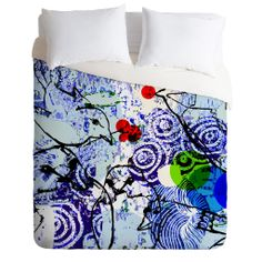 Randi Antonsen Birds And Red Winter Berries Duvet Cover | DENY Designs Home Accessories