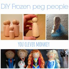 DIY Frozen peg people.  How to make your own Frozen characters for play.  Visit http://youclevermonkey.com/