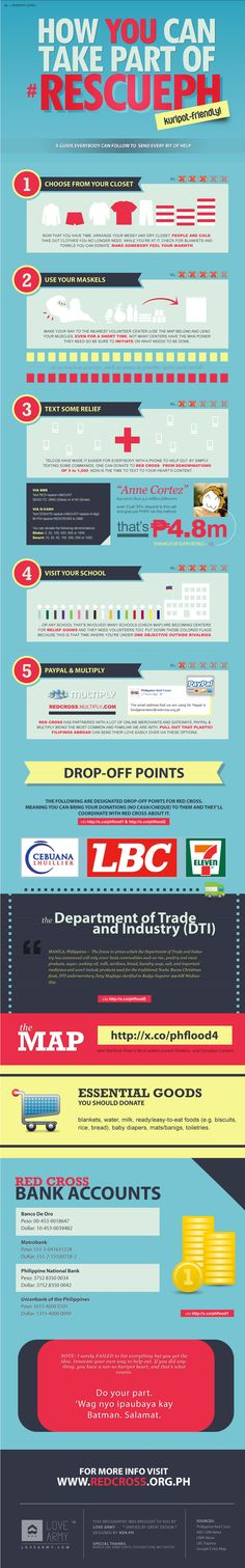 An Infographic to help the public learn how to easily contribute in their own little ways.    You should too :) #RescuePH