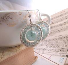 LUNA aquamarine sterling silver wire wrap earrings #brigteam #jewelry $65 @Shadow