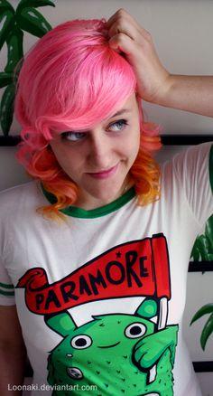 Pink and orange hair.