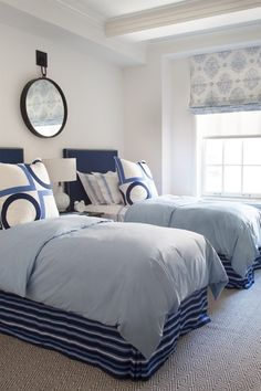Own a house on the water?  This look is perfect - layered blues and great use of pattern.