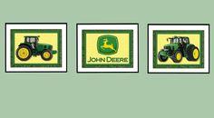John Deere Art Prints Set of 3 8x10's Nursery Art  Bedroom Art John Deere Artwork. $16.00, via Etsy.