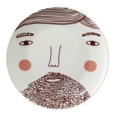 Piatto in porcellana - Beardy Man Plate   Donna Wilson Italia   Design per Bambini