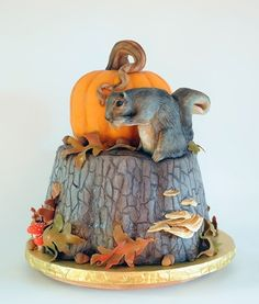 , decorate cakes, autumn cake, squirrels, pumpkin cakes, decorating ideas, halloween pumpkins, fall cakes, groom cake, inspir challeng
