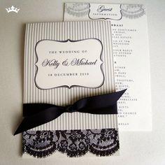 black + white lace wedding invite
