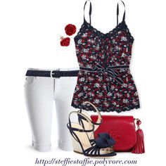 Navy  Red Floral Lace Top