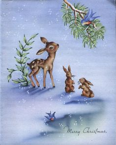 Vintage Grinnell Christmas Card: Deer with Rabbits and Bluebirds