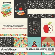Free Teach. Learn. Grow Journal Cards from Studio Flergs {on Facebook}