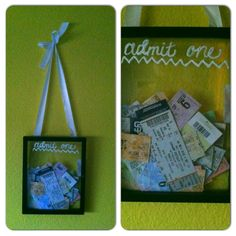 """""""Admit One"""" ticket box made w/ a picture frame"""