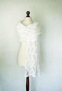 Wedding scarf hand knit shawl white scarf white by KnitwearFactory, $108.00