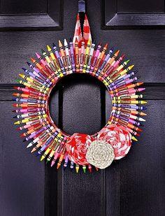 Adorable Teacher gift.  Kids could help make it #teacher #giftideas #crayons #craft #diy