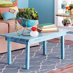 Give a piece of wood furniture a distressed finish. This simple technique uses paint, sandpaper, and a few basic supplies: http://www.bhg.com/decorating/paint/projects/paint-projects-ideas-and-patterns/?socsrc=bhgpin050814perfectpatina&page=3