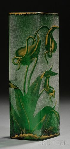 Art Nouveau Art Glass Vase   Late 19th/early 20th century  -- etched green and colorless glass with floral decoration with gilt highlights, 11 7/8 in.
