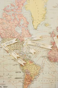 love this idea of pinning important events on a pretty map as home decor