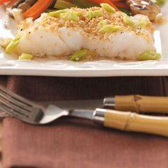 Asian Sesame Cod:  4 servings; 158 calories; 5 g fat per serving; Diabetic Exchanges: 3 lean meat, 1 fat, 1/2 starch