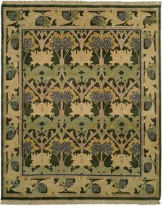 """Modern hand-knotted reproduction Craftsman rug. Shown here is our Bloomsbury design. This Donegal design originated in 1898 when Alexander Mortan & Co. started weaving carpets in Donegal, Ireland. The piece was originally named """"The Fintona""""; it was displayed at the Grafton Gallery in London during a Liberty's exhibition in 1903. This carpet was also available in the catalogues of Gustav Stickley. The carpets design artfully depicts giant hemlock boughs, and is a fine example of the Donegal carpets woven during the Arts & Crafts period. The carpet was possibly designed by the Silver Studio in 1902 influenced heavily by William Morris, as well as C.F.A. Voysey. The Meadow collection is a hand- knotted programmed collection made in India. These carpets are made of 100% wool which is hand-spun for a nubby texture. The carpets are naturally dyed and use the """"abrash"""" technique for a naturalistic look. These carpets are sure to be functional pieces of art that will last many lifetimes to be enjoyed by generations to come."""